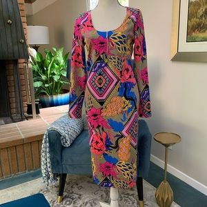 Nicki Minaj multicolor geometric dress